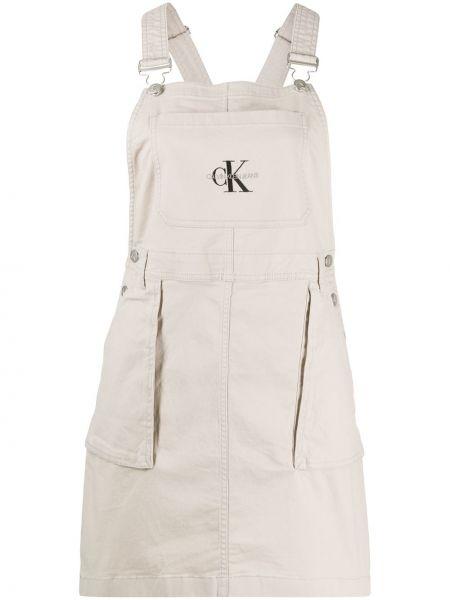 Джинсовое платье серое на бретелях Calvin Klein Jeans