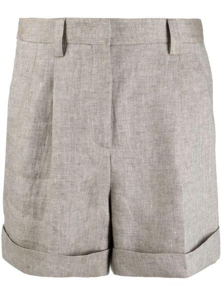 Бежевые льняные шорты с карманами Incotex