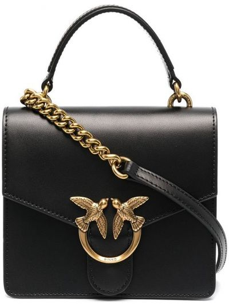 Золотистая черная кожаная сумка на плечо Pinko