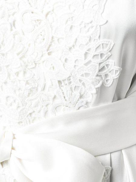 Шелковое белое пальто с бахромой с капюшоном Fausto Puglisi