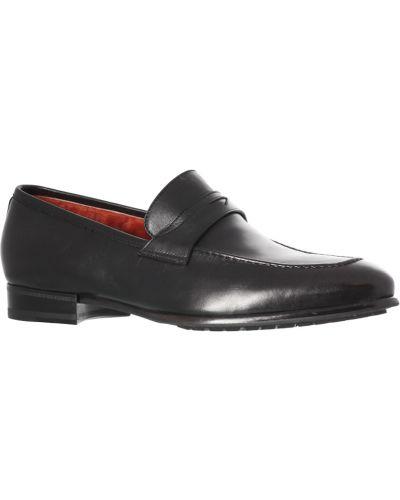 Кожаные туфли - черные Santoni