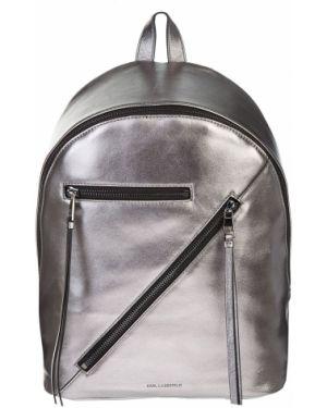Кожаный рюкзак на молнии серебряный Karl Lagerfeld