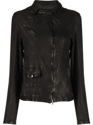 С рукавами черная кожаная длинная куртка Salvatore Santoro