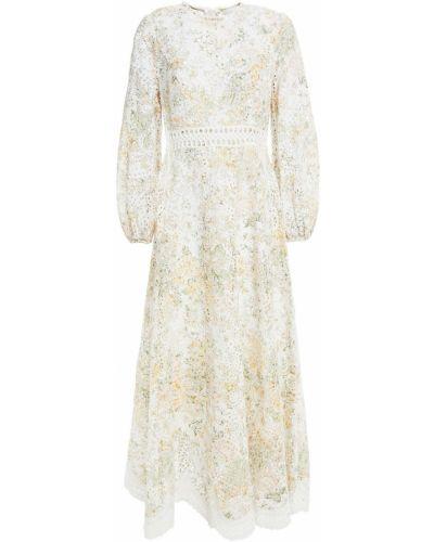 Белое кружевное платье макси с принтом Zimmermann