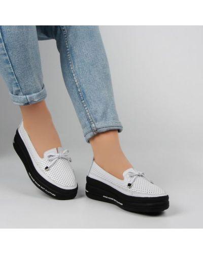 Кожаные белые туфли без застежки Lifexpert