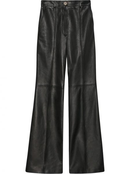 Czarny skórzany rozbłysnął spodnie z paskiem Gucci