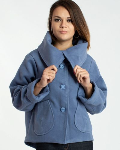 Синее полупальто с капюшоном Modna Anka