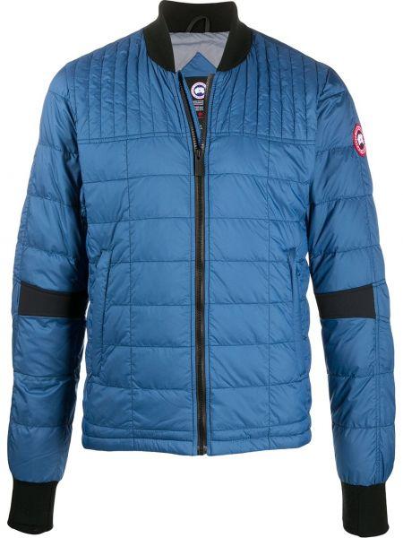 Niebieska długa kurtka z długimi rękawami Canada Goose Kids