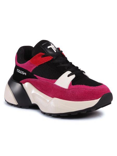 Różowe sneakersy skorzane płaska podeszwa Togoshi