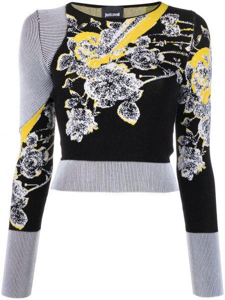 Черный длинный свитер круглый с вырезом Just Cavalli