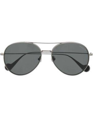 Прямые солнцезащитные очки круглые металлические хаки Moncler Eyewear