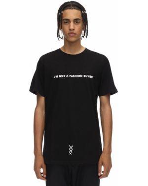 Czarny t-shirt bawełniany z printem Nicolò Tonetto Milano