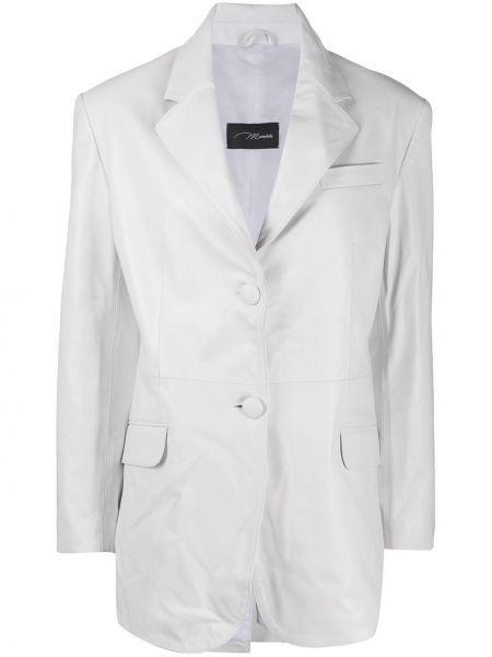 Однобортный белый кожаный пиджак Manokhi