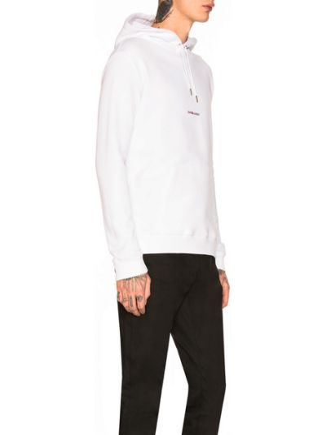 Biała bluza kangurka bawełniana Saint Laurent