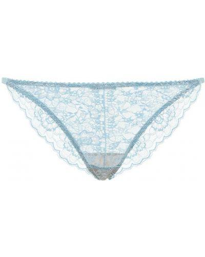 Niebieskie majtki koronkowe sznurowane Underprotection
