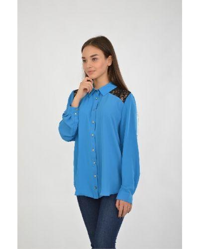 Блузка из вискозы синяя Moda Di Chiara