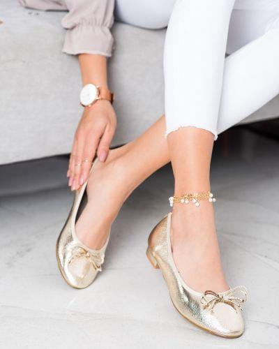 Złote balerinki eleganckie Goodin