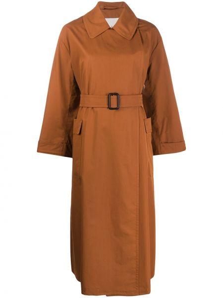 Коричневый длинное пальто с поясом на пуговицах Max Mara