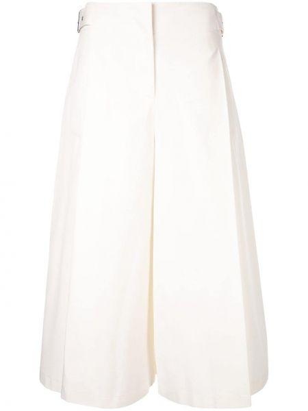 Укороченные брюки расклешенные белые Jil Sander Navy