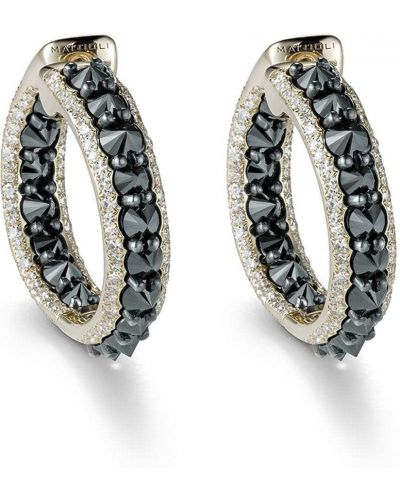 Czarne złote kolczyki sztyfty z diamentem Mattioli
