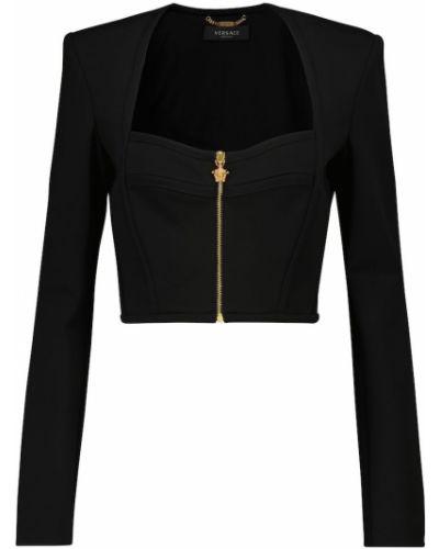 Черный топ на молнии Versace