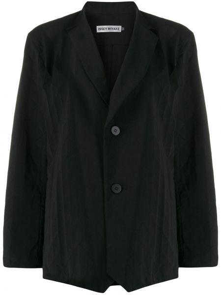 Однобортный черный удлиненный пиджак Issey Miyake