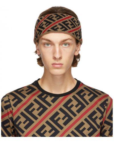 Wełniany brązowy opaska na głowę z paskami Fendi