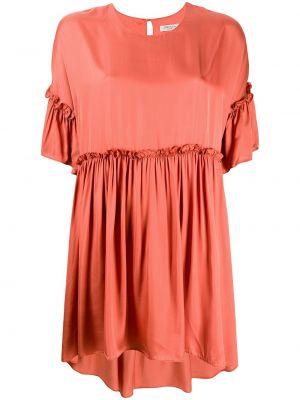 Асимметричное платье мини на пуговицах с оборками с вырезом Jovonna