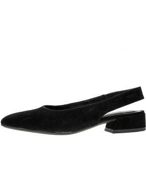 Замшевые туфли черные на плоской подошве Vagabond