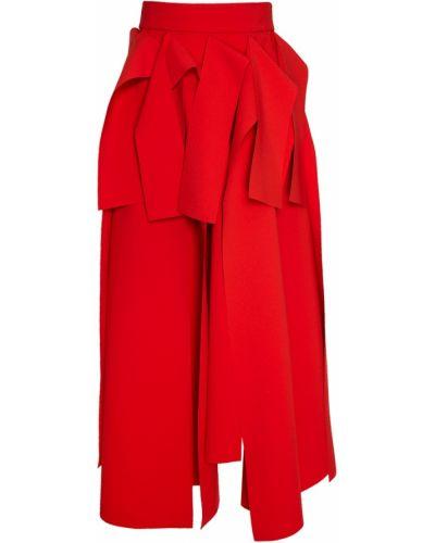 Шелковая с завышенной талией красная юбка миди A.w.a.k.e.