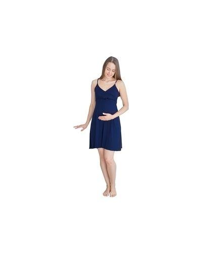 Мягкая темно-синяя ночнушка для беременных с запахом Milk And The City