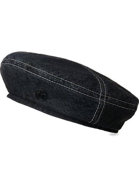 Czarny beret bawełniany Maison Michel