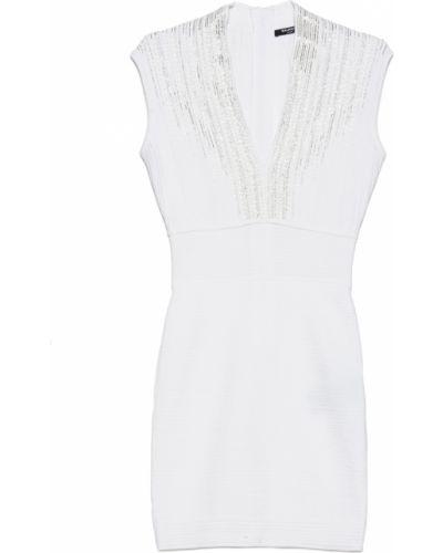 Biała sukienka midi bez rękawów Balmain