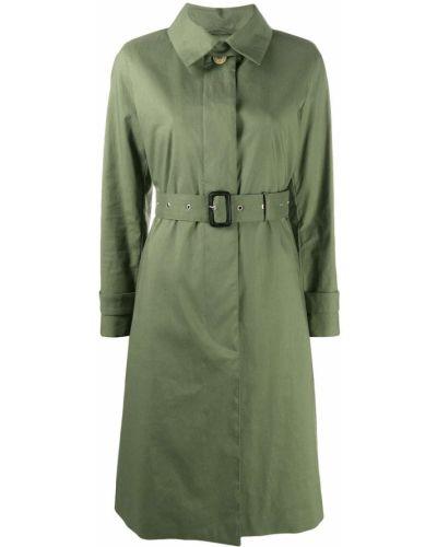 Bawełna zielony prochowiec z długimi rękawami z kołnierzem Mackintosh