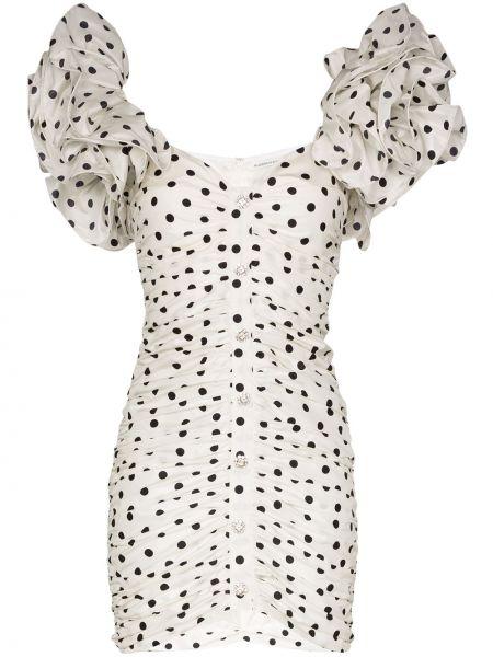 Шелковое плиссированное платье мини на пуговицах с оборками Alessandra Rich