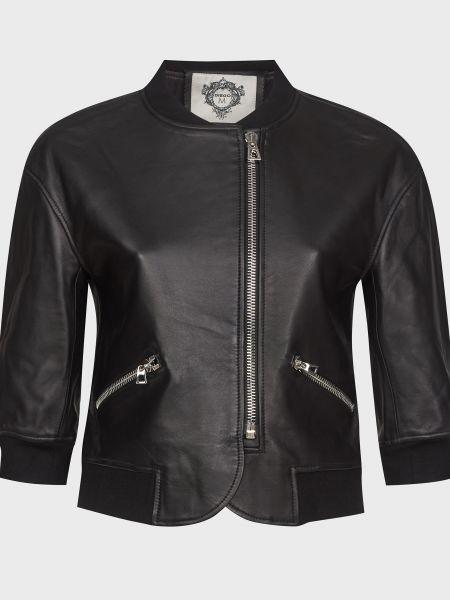 Кожаная куртка на молнии - черная Diego M