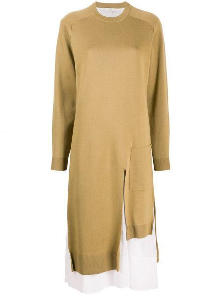 Асимметричное желтое вязаное платье макси с длинными рукавами Tibi