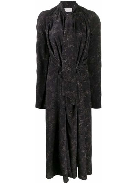 Bezpłatne cięcie jedwab czarny długo sukienka z długimi rękawami Lemaire