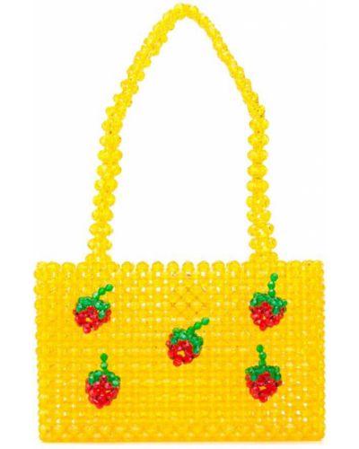 Желтая соломенная сумка с ручками Susan Alexandra