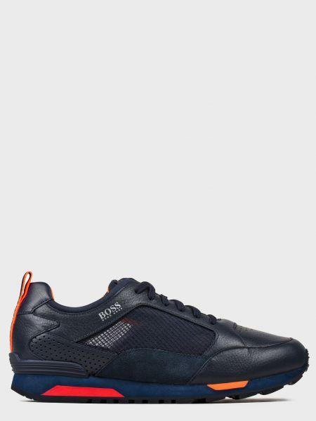 Кожаные кроссовки - синие Hugo Boss