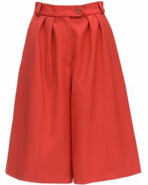 Czerwone szorty z wysokim stanem wełniane Lesyanebo