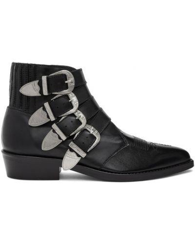 Кожаные черные сапоги с высоким голенищем с пряжкой на каблуке Toga Virilis