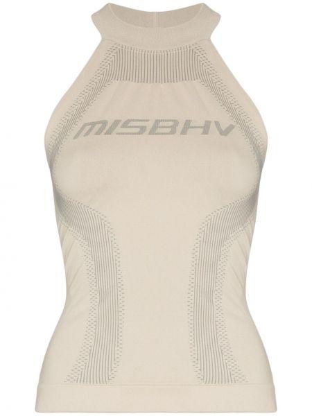 Prążkowany beżowy top sportowy bez rękawów Misbhv
