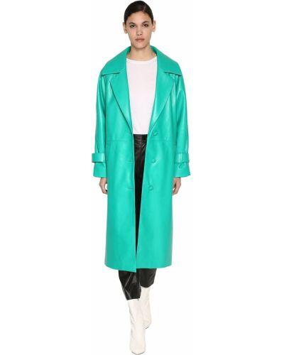 Зеленое кожаное длинное пальто с карманами Drome