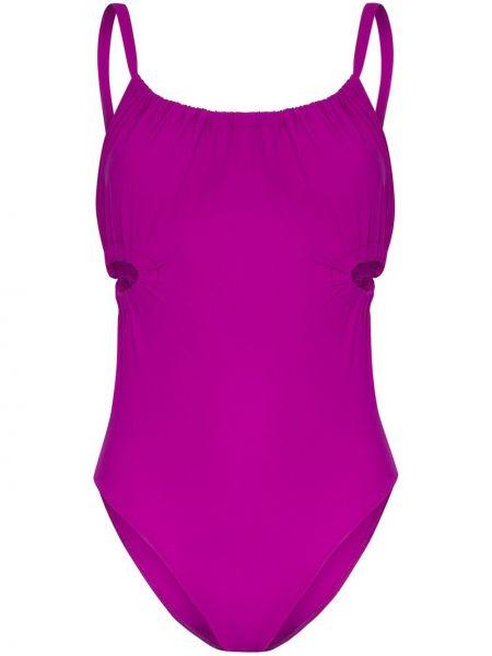 Плюшевый фиолетовый слитный купальник с вырезом Araks