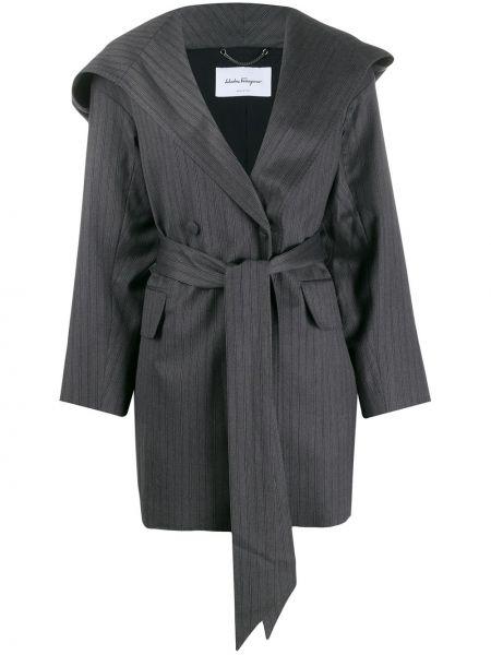 Терракотовое шерстяное длинное пальто Salvatore Ferragamo