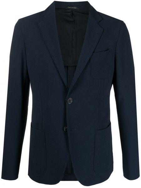 Однобортный синий удлиненный пиджак с накладными карманами Giorgio Armani