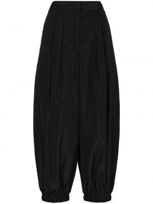 Pofałdowany spodni czarny przycięte spodnie Tibi