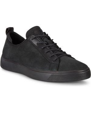 Шерстяные черные кеды с подкладкой на шнурках Ecco