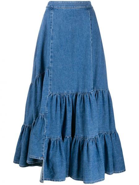 Джинсовая юбка макси с воланами Mm6 Maison Margiela